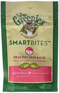 Greenies Feline Smartbites Skin \u0026 Fur Salmon 2.1 Oz - S