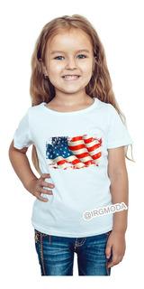 Camiseta Niña Bandera Usa Moda Lifestyle Poliester Cpr20