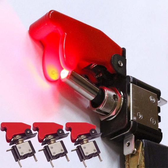 3 Chave Botão Caça Led Neon Vm Som Turbo Strobo Luz Painel