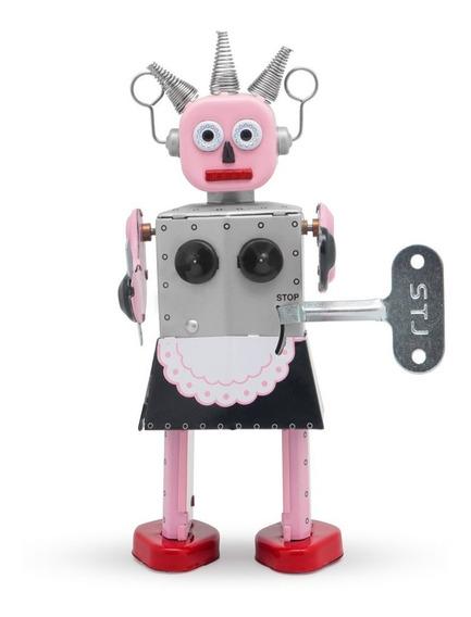Robot A Cuerda De Hojalata Retro Tin Toy Roxy Gato