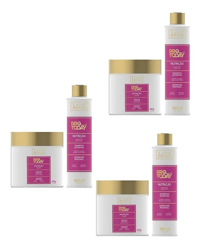 3 Kits Lissé Pro To Day Nutrição Shamp 300ml + Máscara 500g