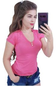 Roupas Femininas Blusas Baby Look Camisetas Gola Botão 2019
