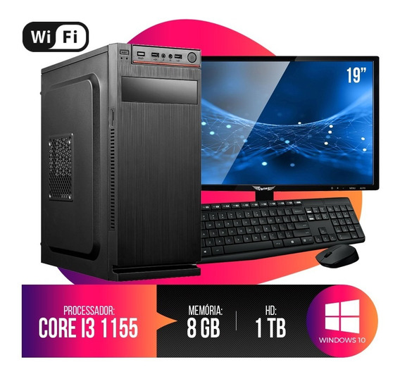 Pc Completo Intel Core I3, 8gb Ram, Hd 1tb, Monitor 18,5 Led