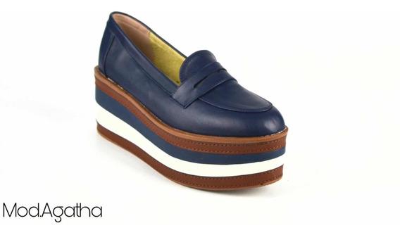 Zapatos Mujer Plataforma Azul