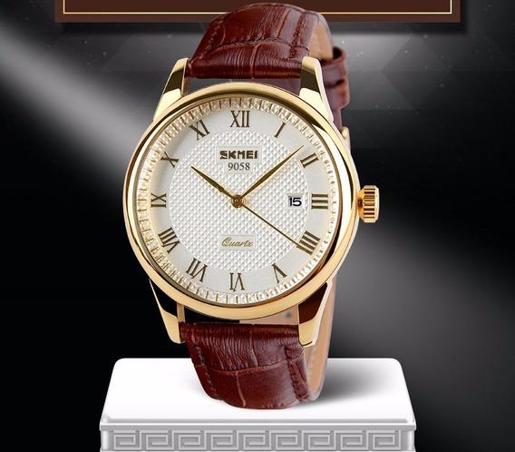 Relógio De Aço Inoxidável Com Pulseira De Couro Unisex
