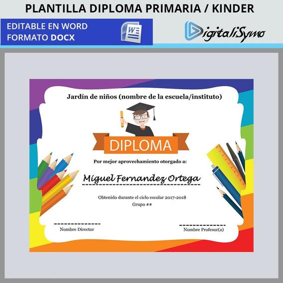 Plantilla Diploma Kinder Jardín De Niños Primaria- Para Word