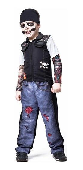 Roupa De Halloween Punk Skull Infantil + Balaclava + Nf