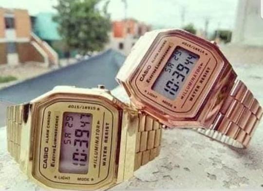 Reloj Casio Rosa Rose Gold + Dorado A-168 Vintage Retro