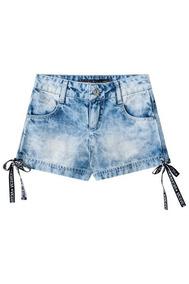 Short Jeans Com Detalhes Na Barra Vic&vicky - 89336706a Azul