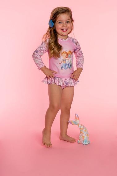 Conjunto Camisa - Calcinha Sereia Infantil Everly - 9776343