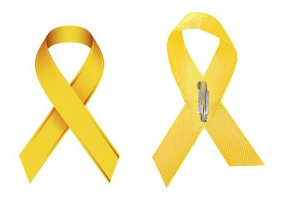 Kit 200 Laços Amarelos Campanhas Cetim Fecho De Broche
