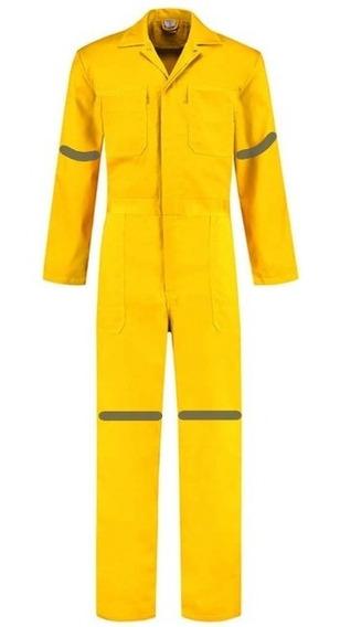 Overol Industrial Amarillo Con Reflejante 100% Algodón