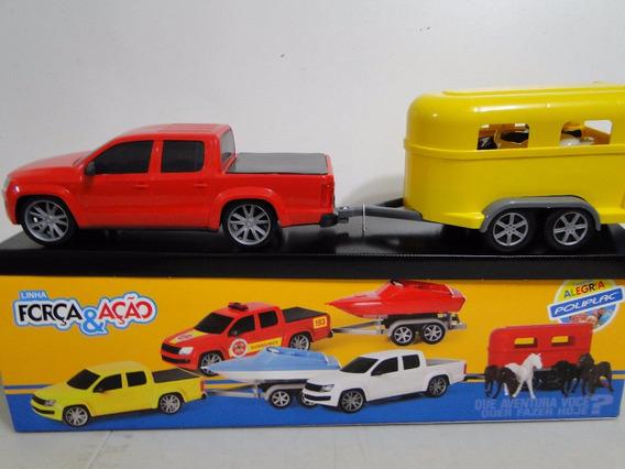 Nova Amarok Pickup Brinquedo 63cm Reboque Cavalo Carretinha