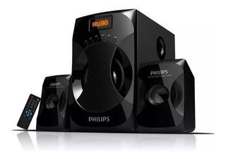 Parlantes Multimedia 2.1 Philips Mms4040f Aux Usb Fm 40w Pce