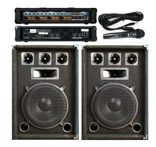 Combo Karaoke2bafles 300w/consola Potenciada 9 Entradas/1mic