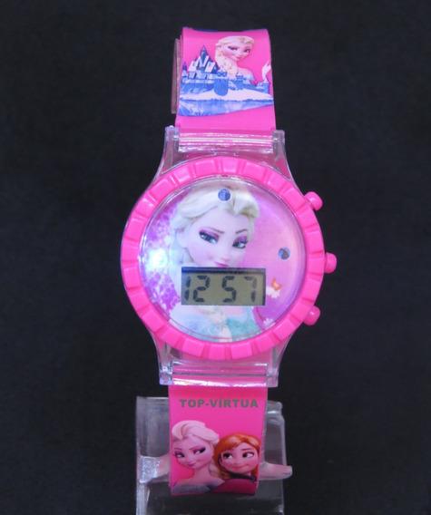 Relógio Da Frozen Rosa Digital Infantil Com Som E Luzes C330
