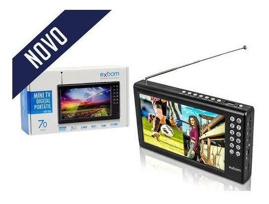 Mini Tv Digital Portátil Exbom Mtv-70a Recarregável.
