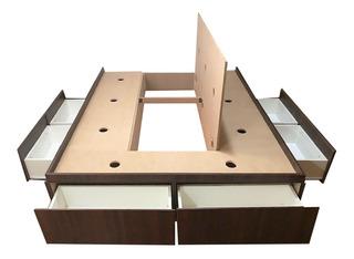 Base Box Sommier 6 Cajones Y Baulera 1,60 X 1,90 / 2,00