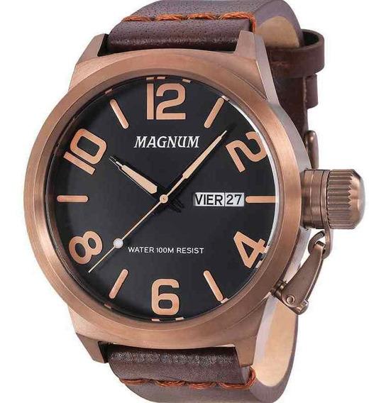 Relógio Magnum Masculino Pulseira Couro Marrom Ma33399r + Nf