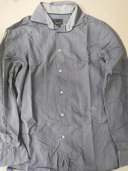 Camisa H&m Color Azul Talla S Ch 37-38