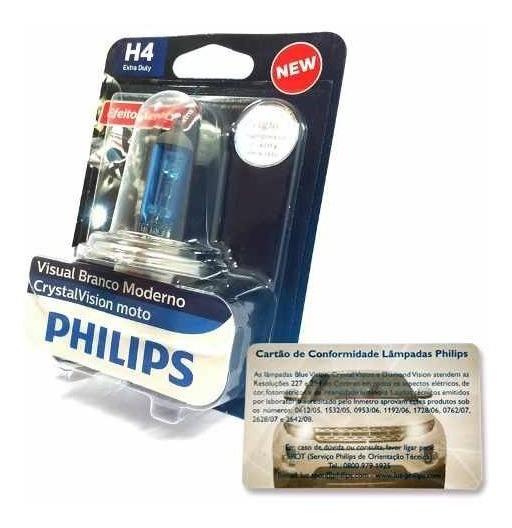 Lampada P/ Moto Extra Duty Crystal Vision H4 35/35w Philips