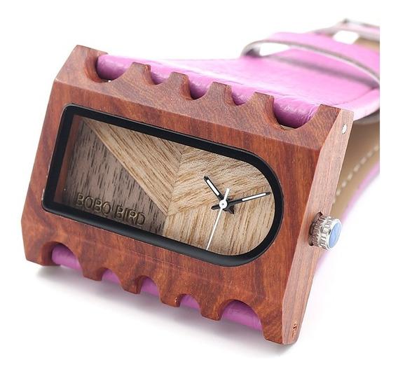 Relógio Feminino Bambu Analóg Bobo Bird Rosa Lançamento! N22
