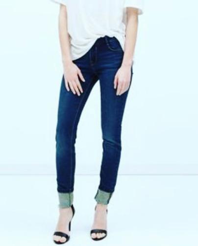Jeans Elastizado Tiro Alto Chupin Azul Talle 38