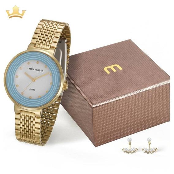 Kit Relógio Mondaine Feminino 99122lpmvde2kz Com Nf
