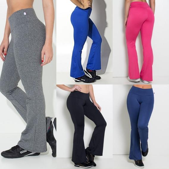 Calça Feminina Flare Boca De Sino Legging Suplex Lisa Fitness Academia