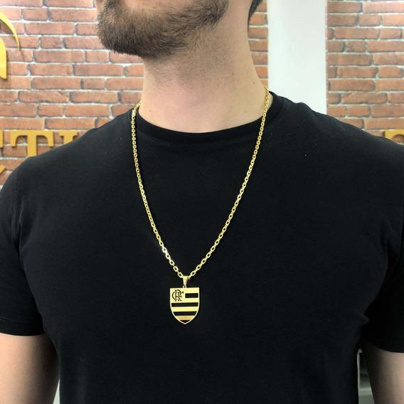 Kit Corrente Masculina + Pingente Flamengo Banhado Ouro 18k