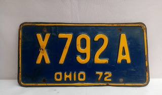 Placa Original Carro Usa Ohio 1972