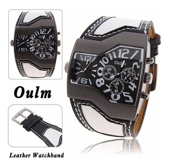 Relógio De Pulso Oulm Multi-function Dupla Movt De Couro Com