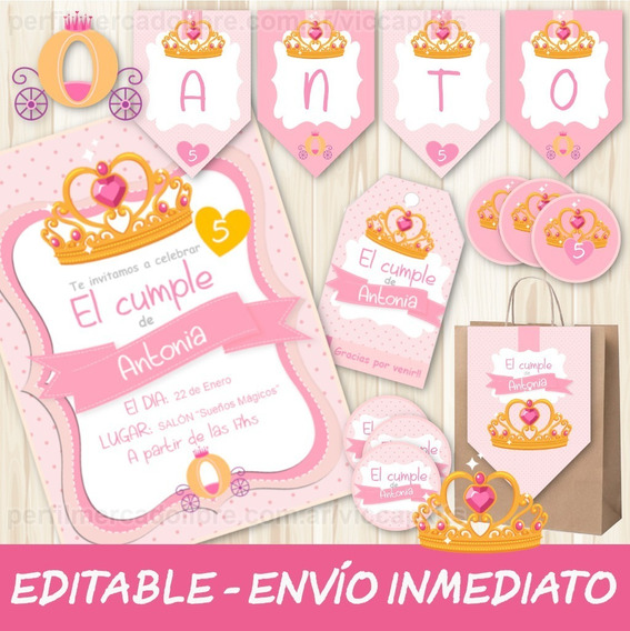 Kit Imprimible Coronita Corona Dorada Princesa Nena Editable