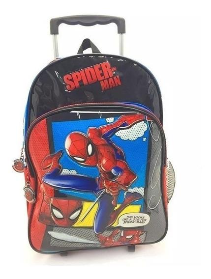 Mochila Spider-man Sense Celeste Con Carro 16