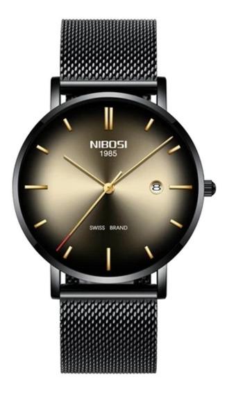 Relógio Nibosi Unissex Preto E Dourado 2362 Original 30m