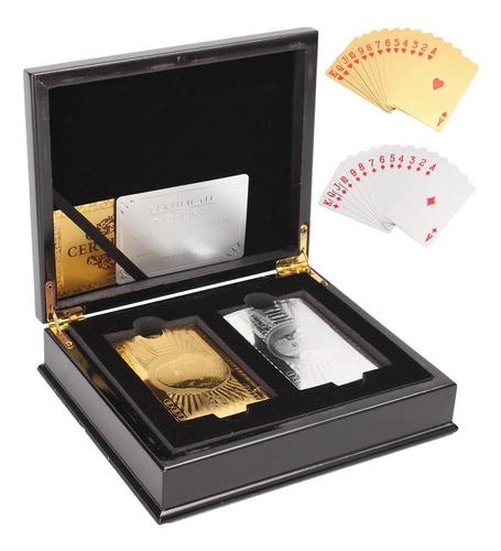 Imagen 1 de 9 de 1 Juego De 2 Barajas De Póquer De Oro Y Plata Coleccionable