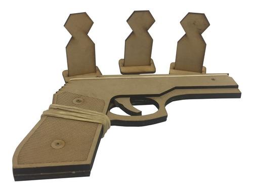 Pistola De Madera Lanza Bandas Elasticas Gomitas Fibro Mdf