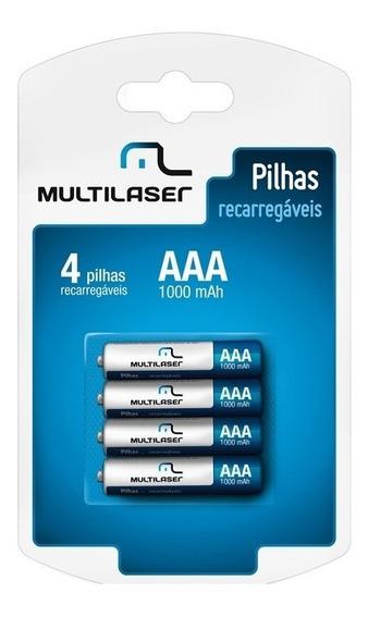 Pilha Recarregável Multilaser 1,2v Com 4 Pilhas Cb050