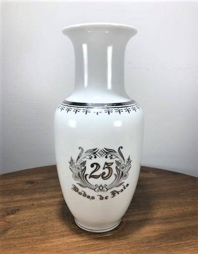 Imagem 1 de 7 de Vaso De Porcelana Para Bodas De Prata 25 Anos De Casamento