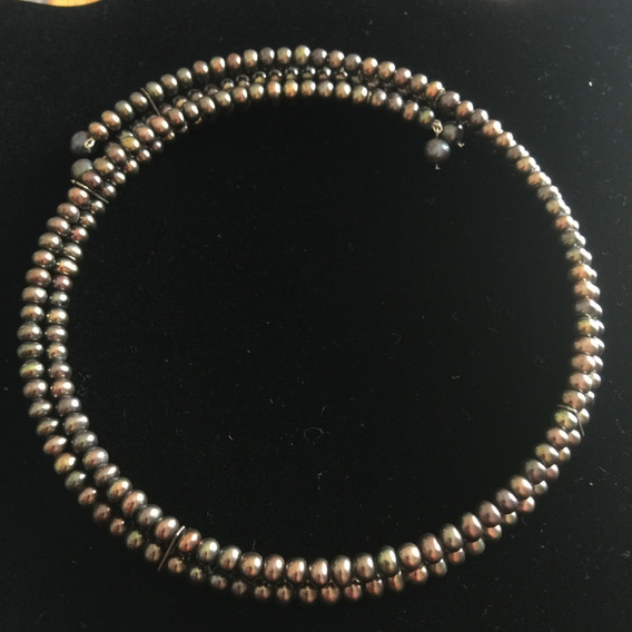Gargantilla De Perlas Doble Tornasol (negro) - P3rlas