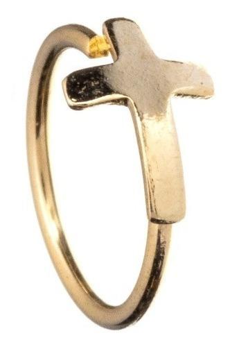 Piercing Nariz Hélix Trágus Banho A Ouro 18k Cruz Cartilagem