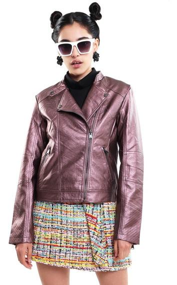 Chamarra Biker Mujer Tipo Cuero Color Rosa Lob
