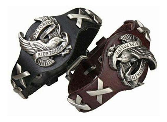 Pulseira Couro Motociclismo Punk Rock Harley Davidson Vintag