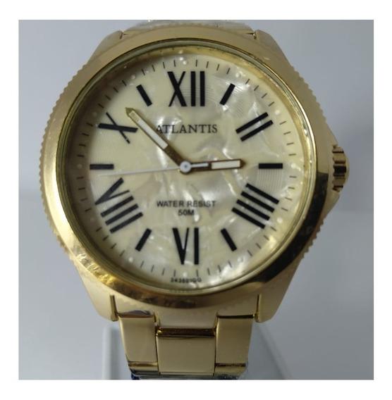 Relógio Atlantis Dourado Fundo Bege Ponteiro Preto G3435