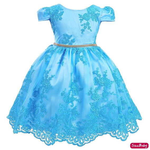 Vestido Infantil Azul Princesa Realeza Festa Super Luxo