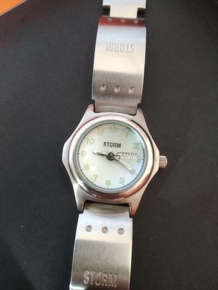 Relógio Storm Feminino - Todo Em Aço - Branco Com Verde