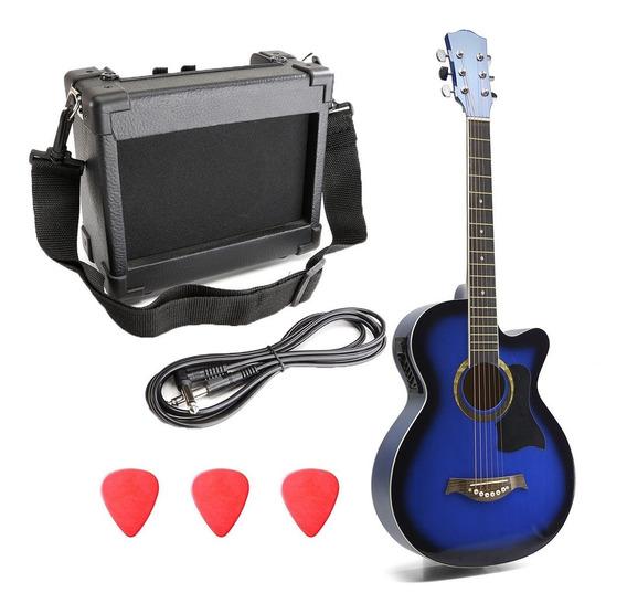 Guitarra Electroacustica Y Amplificador Madera Cuerdas Acero