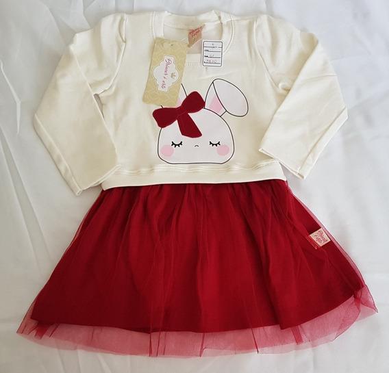 Roupa Para Bebê Menina Vestido Manga Longa Moletinho 11a14m