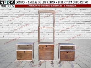 Combo 2mesas De Luz+cubo Biblioteca Retro Patinado Combinado