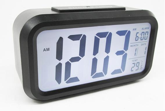 Reloj Digital Alarma Numeros Grandes Negro Fechador Luz Led